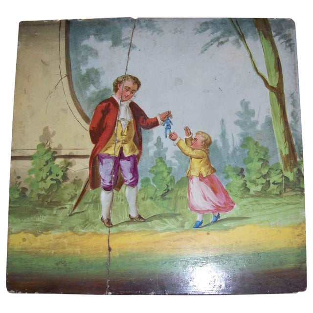 Vintage Man Giving Toy to Child Hand Painted Tile For Sale
