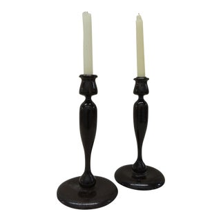 Pair of Vintage Turned Wood Candle Holders For Sale