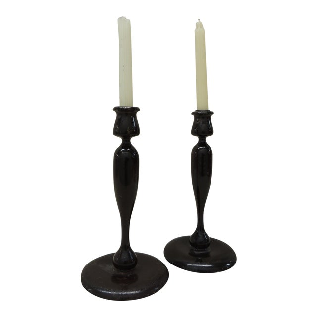 Vintage Turned Wood Candle Holders - a Pair For Sale