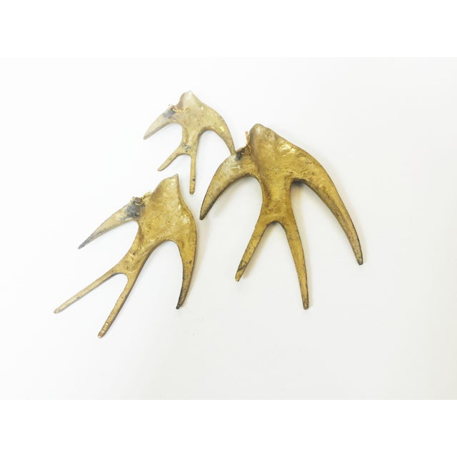 Set of 3 Vintage Brass Swallow Bird Wall Hangings - Image 6 of 6