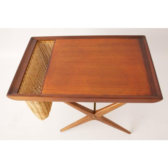 Teak Walnut MCM Side Table Woven Magazine Basket - Image 11 of 11