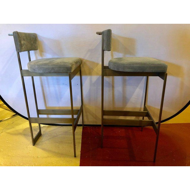 Modern Set of Four Powell and Bonnell 'Alto' Suede Bar Stools For Sale - Image 3 of 14