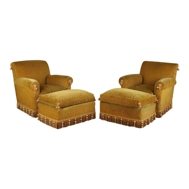 Pair of 1940s French Club Chairs With Matching Ottomans For Sale