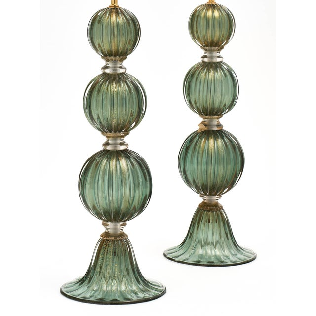 Modern Green Avventurina Murano Glass Lamps For Sale - Image 3 of 10