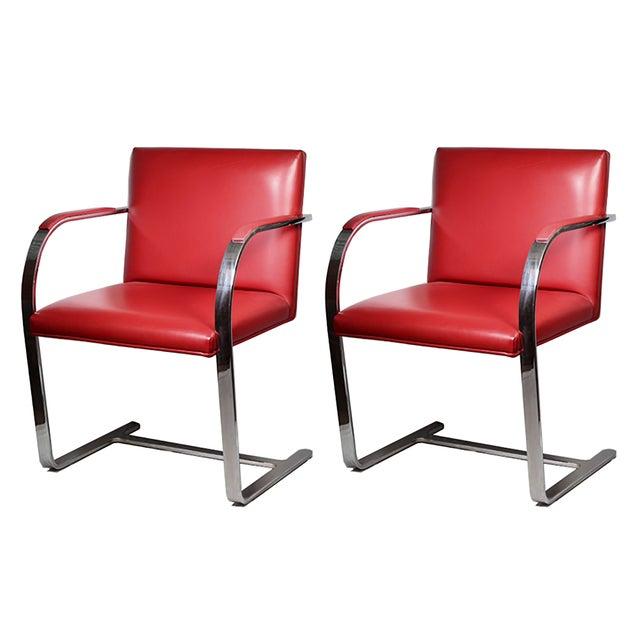 Red Leather Brno Flat Bar Armchair by Gordon International - Image 7 of 7