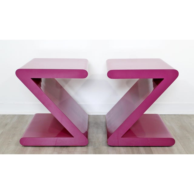 Contemporary Modern of Acrylic Z Shaped Side End Tables 1980s Pink - a Pair For Sale - Image 10 of 11