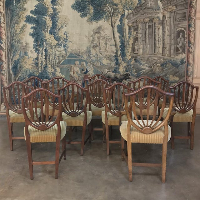 Set of 12 Antique English Sheraton Dining Chairs Includes Four Armchairs For Sale - Image 12 of 13