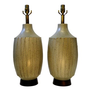 Pair of David Cressey Mid-Century Modern Pottery Table Lamps For Sale
