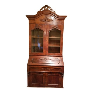 Antique American Empire Carved Slant Front Secretary Desk For Sale