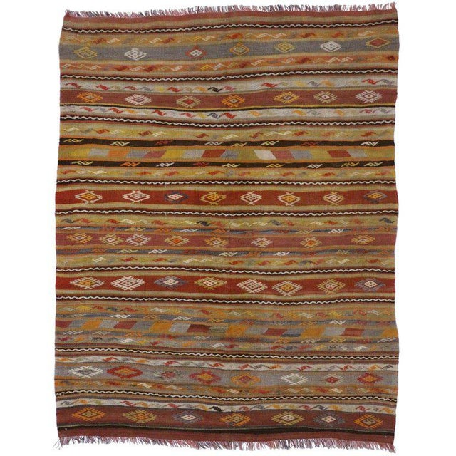 Adirondack Vintage Turkish Flat-Weave Kilim Tribal Rug - 5′4″ × 6′9″ For Sale - Image 3 of 3