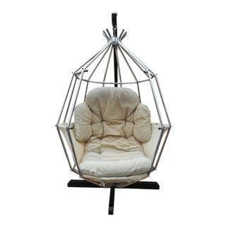 1970s Ib Arberg Parrot Cage Nickel Plated and Steel Swing Chair For Sale