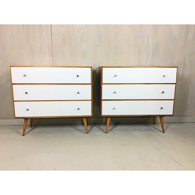 Pair of Paul McCobb Style Dressers with Painted Drawers - Image 7 of 7