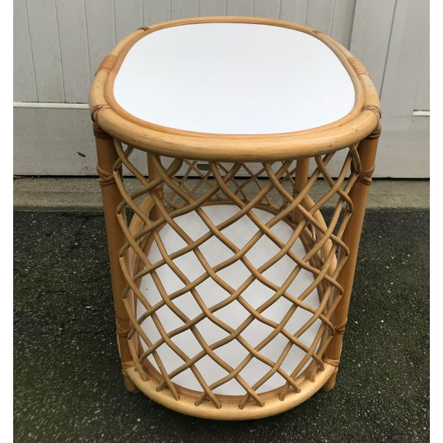 WIllow and Reed Oval Bamboo Side Table For Sale In New York - Image 6 of 13