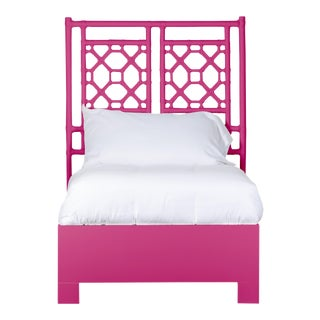 Lattice Back Bed Twin Extra Long - Bright Pink For Sale