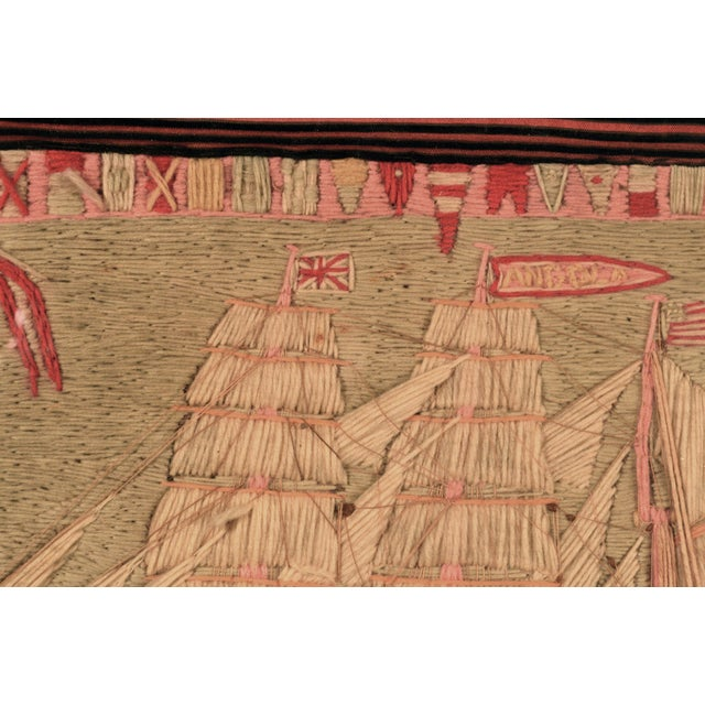 Mid 19th Century Antique British Sailor's Woolwork of the Angola For Sale - Image 5 of 6