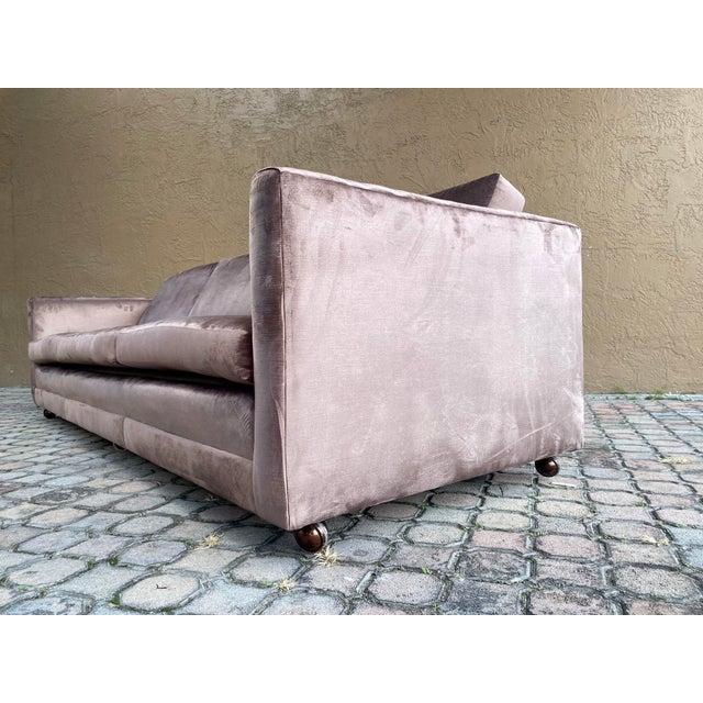 Restored Selig Tuxedo Sofa in a Velvet Brown For Sale - Image 9 of 12