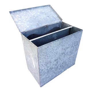 Xxl Vintage Galvanized Steel Bin | Industrial Metal Lidded Storage Container Box | Rustic Industrial Farmhouse Décor For Sale