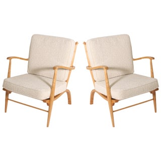 French Lemon Wood Chairs, C. 1950 - a Pair For Sale