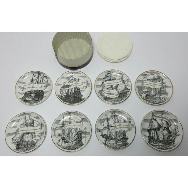 "1950s 1950s Piero Fornasetti for Bonwit Teller Tall Ships ""Velieri"" Porcelain Coasters - Set of 8 For Sale - Image 5 of 5"