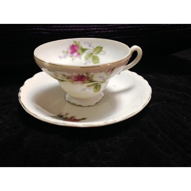 Vintage Pink & Green Flowered Cup & Saucer - Image 3 of 7