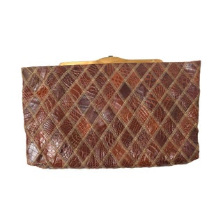 Alligator Mid Century Modern Clutch For Sale
