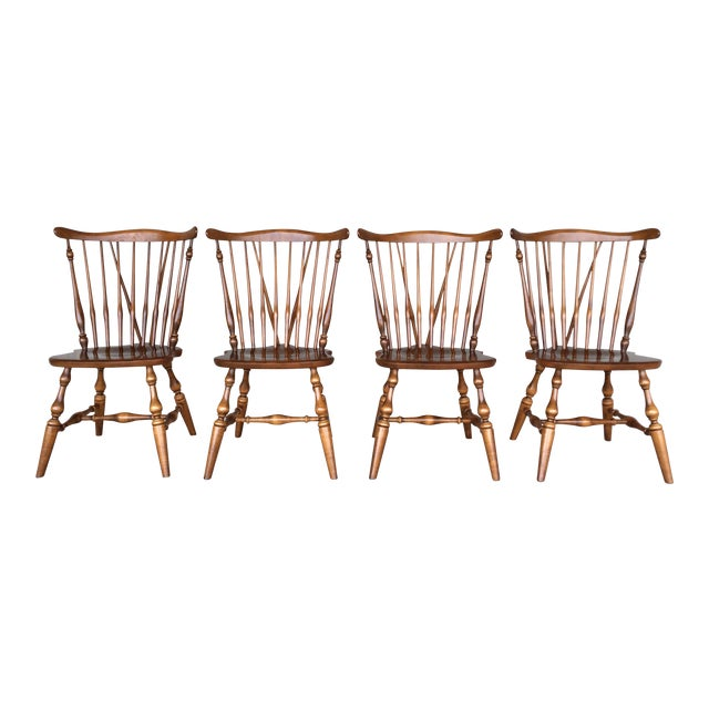 Ethan Allen Windsor Brace Back Nutmeg Side Chairs - Set of 4 For Sale