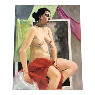 Original Vintage Female Nude Painting 1970's For Sale