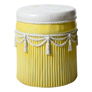 Italian Vintage Yellow & White Ceramic Garden Stool Hollywood Regency Palm Beach For Sale