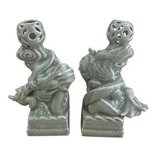 Vintage 1970s Chinese Celadon Ceramic Dragon Figurines- a Pair For Sale