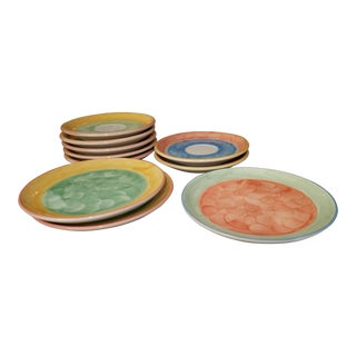 Vintage Villeroy and Boch Design Hand Painted Earthenware Plates - Set of 12 For Sale