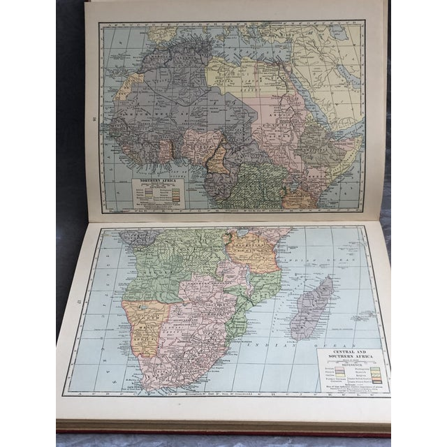 Ruby Red 1920s World Atlas With Decorative Cover For Sale - Image 8 of 13