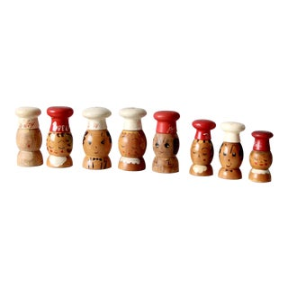 Mid-Century Wooden Salt & Pepper Shakers - 8 Piece For Sale