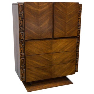 1960s Brutalist Wooden Chest of Drawers For Sale
