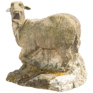 18th Century Sheep Garden Statue in Sandstone For Sale