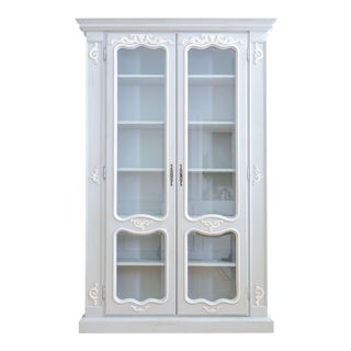 Old European Linen Armoire China Cabinet / Bookshelf