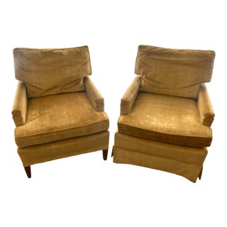 Mid-Century Modern Henredon Mustard Club Chairs - a Pair For Sale