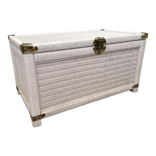 Vintage Wicker and Rattan Trunk For Sale