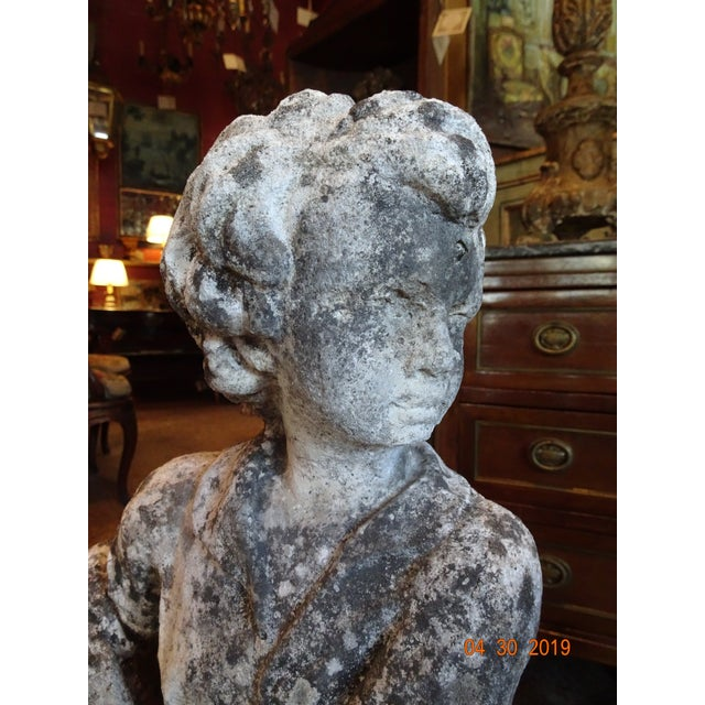 Pair of Vintage French Stone Statues For Sale - Image 9 of 13