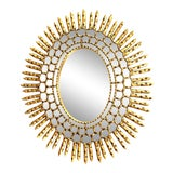 Image of Mid-Century Modern Oval Sunburst Giltwood Mirror For Sale