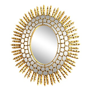 Mid-Century Modern Oval Sunburst Giltwood Mirror For Sale
