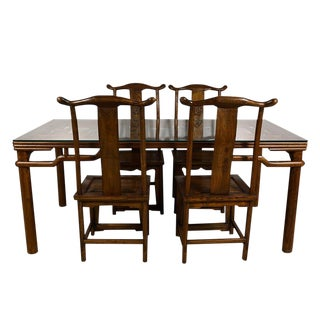 20th Century Chinese Carved Dining Set - 5 Pieces For Sale