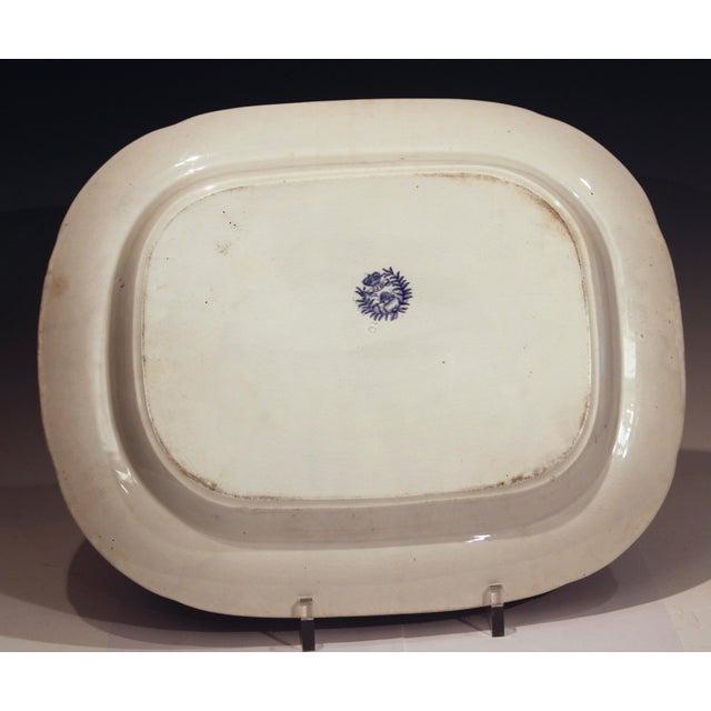 Ceramic Antique Staffordshire Blue Willow Platter Large Server Platter For Sale - Image 7 of 11