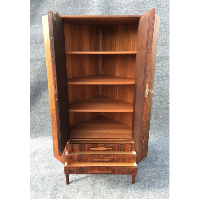 Danish Modern Rosewood Corner Cabinet - Image 6 of 6