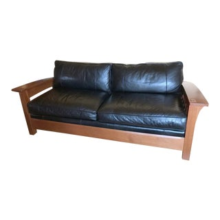 Stickley Cherry With Pebbled Black Leather Bowed Arm Orchard St. Sofa For Sale
