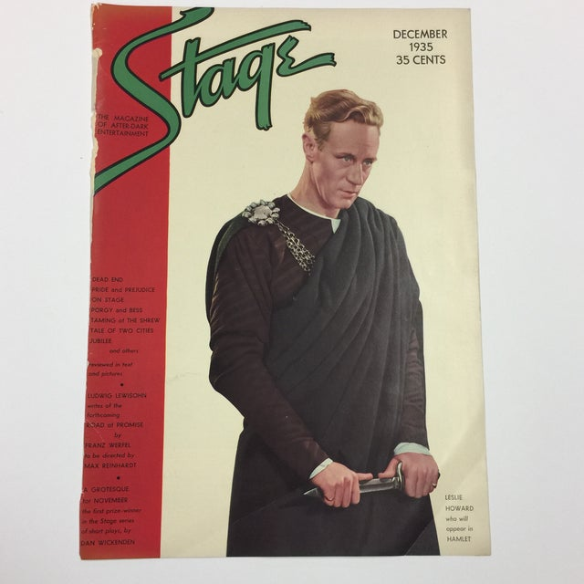 Dramatic cover photograph of actor Leslie Howard in Hamlet on the cover of Stage magazine, 1935. Ready for framing! Left...
