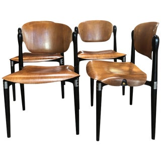 "Set of 4 Rosewood and Black Lacquered ""S83"" Side Chairs by E.Gerli for Tecno For Sale"