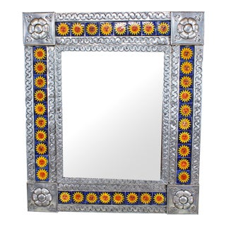 Press Tin Metal Wall Mirror With Hand-Painted Tiles For Sale