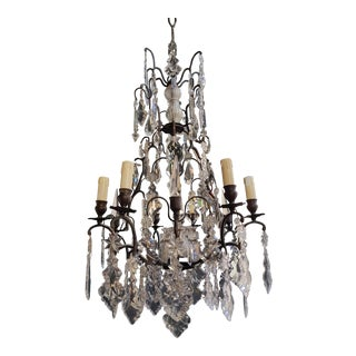 French Crystal Chandelier Antique Ceiling Lamp Lustre Art Nouveau Lamp For Sale
