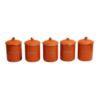 Orange Kitchen Metal Canisters - Set of 5