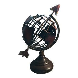 Mid Century Modern Metal,brutalist Style Rotating Globe Sculpture,wood Base For Sale